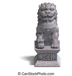 stone chinese foo dog - chines fu dog made out of stone. 3D...