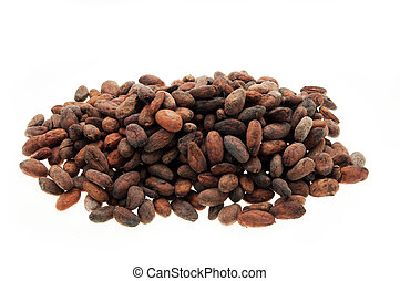 Pile of Cocoa beans isolated white background