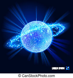 Energy - Disco ball surrounded by a stream of blue energy in...