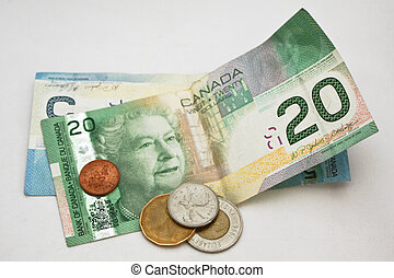 canadian money - A close up of a selection of Canadian...