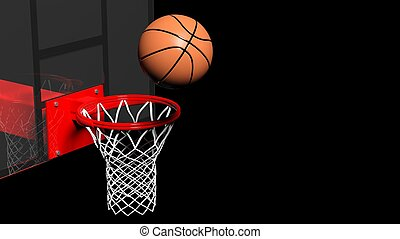 Basketball hoop with ball isolated on black background