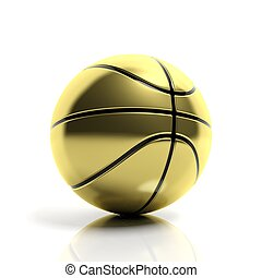 Golden basketball ball isolated on white background