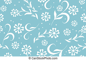 vector seamless blue floral pattern with circles