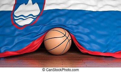 Basketball ball with flag of Slovenia on parquet floor