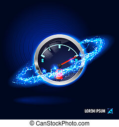 Energy - Fuel indicator surrounded by a stream of blue...