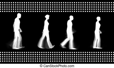 Digital people walking - Digital white people walking in...