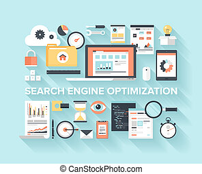 Flat SEO Concept - Abstract flat vector illustration of...