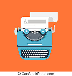 Typewriter - Vector illustration of flat vintage typewriter...