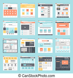 Web template - Vector collection of flat website templates...