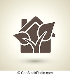 ecology flat icon with house and plant elements - retro...
