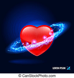 Energy - Red heart surrounded by a stream of blue energy in...