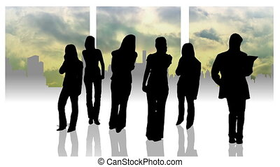 Busineswomen silhouettes animation