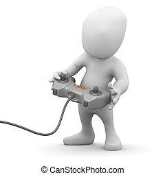 3d Little man playing a videogame - 3d render of a little...