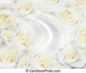 Wedding invitation White roses - Image and illustration...
