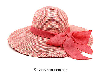 Straw hat - Pink straw hat with bow isolated on white