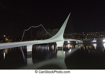 Buenos Aires, Argentina - Woman Bridge on Puerto Madero,...