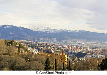 Granada and Sierra Nevada - View of the city of Granada and...