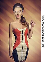 fashion girl with short dress - fashion young girl posing...