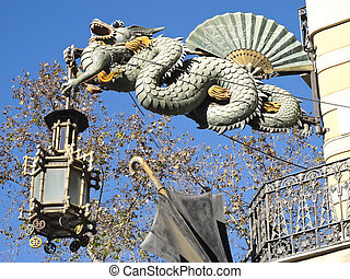 Chinese Dragon in the Ramblas, Barcelona - Chinese Dragon...