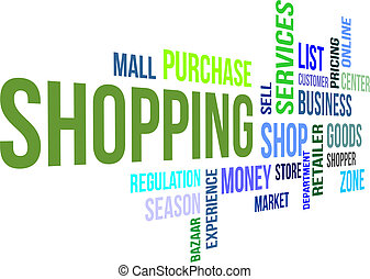 word cloud - shopping - A word cloud of shopping related...