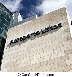 Lisbon Airport - The Lisbon airport sign in front of the...