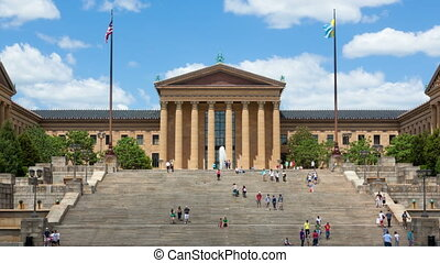 Timelapse of Philiadelphia Museum - Timelapse of people...