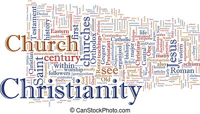 Christian word cloud - Word cloud concept illustration of...