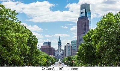Timelapse of philadelphia Skyline - Timelapse of the...