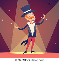Circus Show Host Boy Man in Suit with Cylinder Hat Icon on...