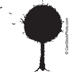 Black tree grunge silhouette on white background. Vector...