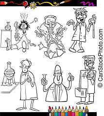 scientists set cartoon coloring book - Coloring Book or Page...