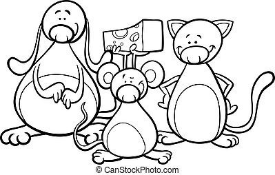 cute pets cartoon coloring page