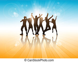 Summer party background - Silhouettes of people dancing on a...