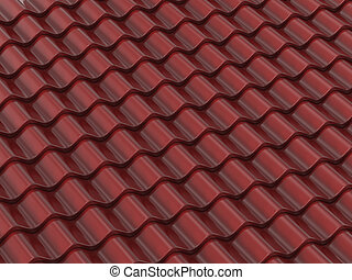 Roof tile - 3d render of brown classic roof tile