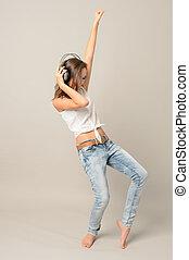 adolescente, menina, dança, escutar, música,...