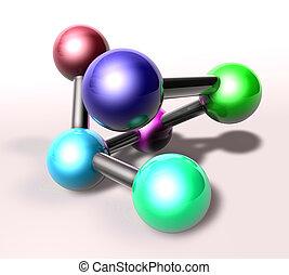 Atom molecule illustration - Molecule model molecular atomic...