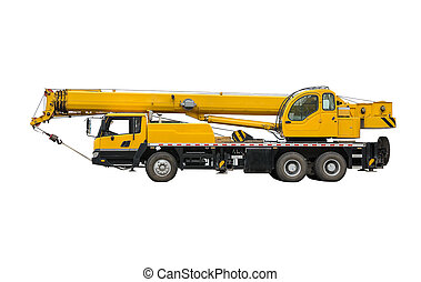 Truck Crane. Isolated object on a white background. (all...