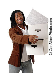 Moving In - A young man carrying boxes and pointing to...