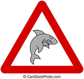 a grey shark with warning sign