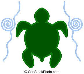an icon turtle in water