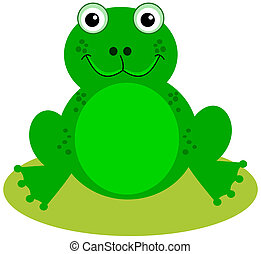 a smiling green frog