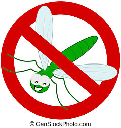 green dragonfly in prohibition sign