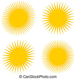 several sun face and turn