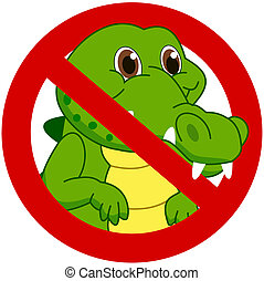 crocodile in a prohibitory sign
