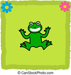 frog on a green tile flowers