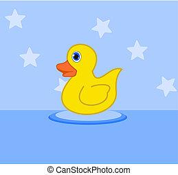 duckling in a bath toy