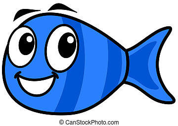 a smiling blue fish