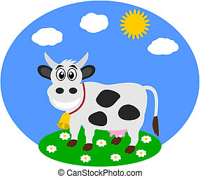 a dairy cow in a field