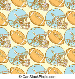Sketch helmet and american football ball, seamless pattern...