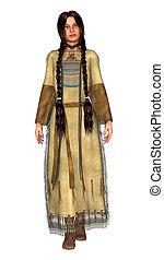 Native American Woman - 3D digital render of a beautiful...